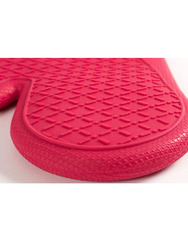 """13"""" x 7"""" Silicone Printed Classic Stripe Oven Mitt - Red"""