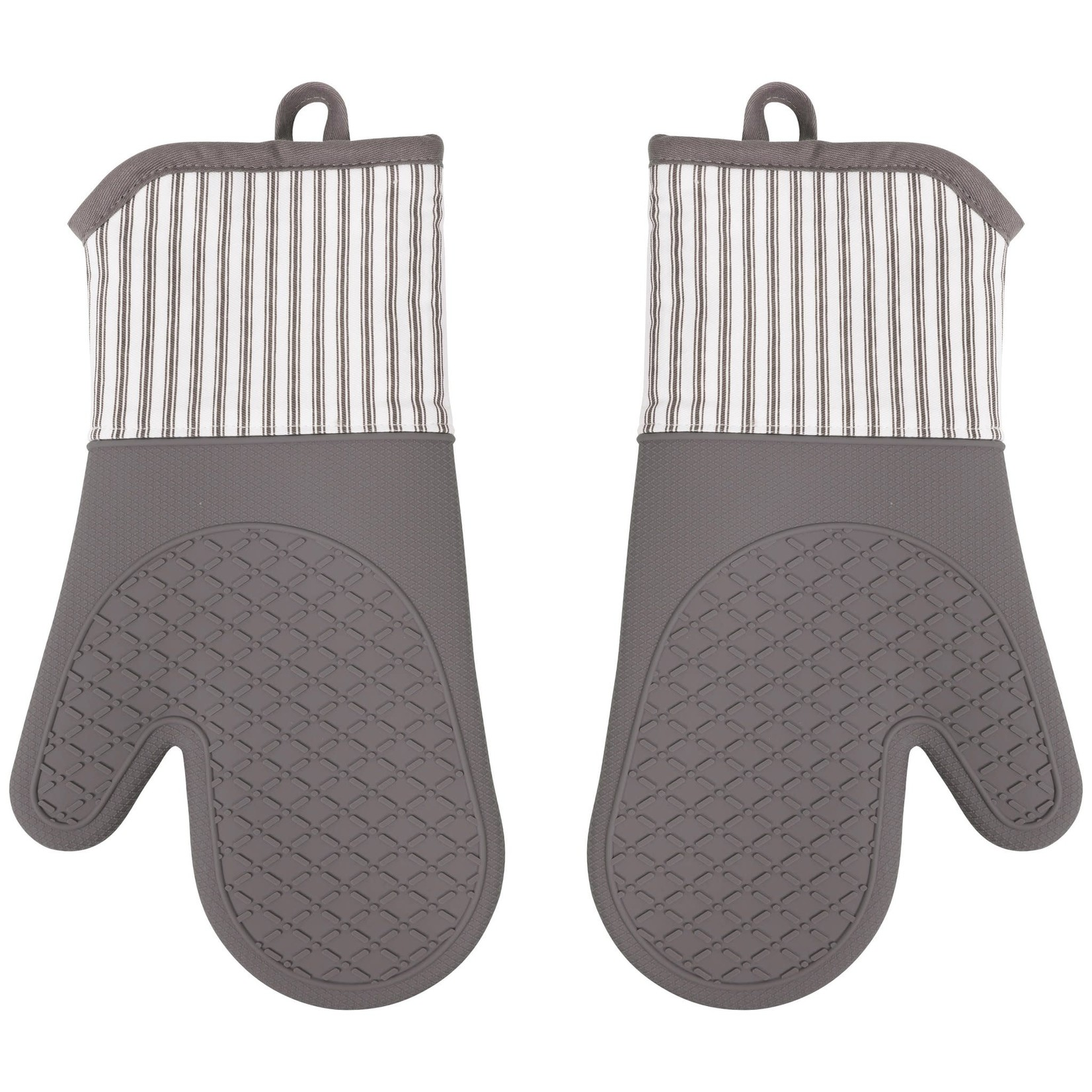 """13"""" x 7"""" Silicone Printed Classic Stripe Oven Mitt - Pewter"""