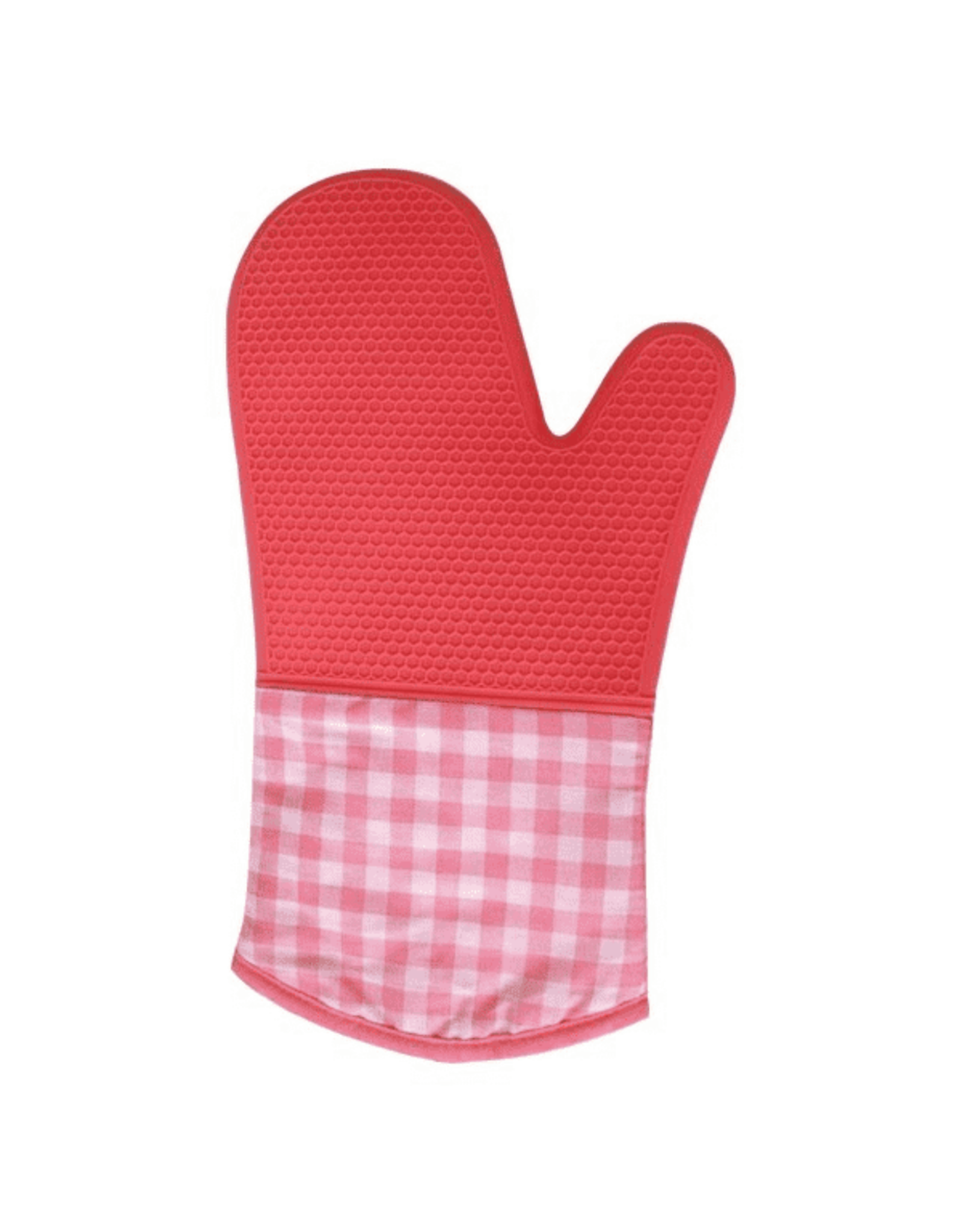Cool Touch - Silicone Oven Mitt - Checkered, 12.5 in, Pink, CP,12