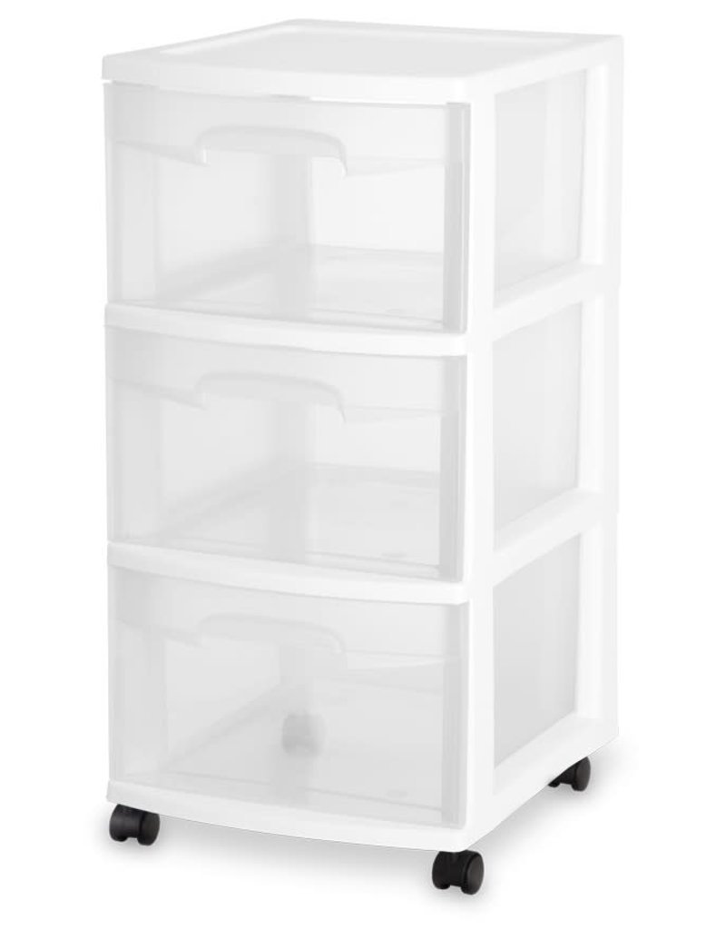 """DRAWER/CART-3 12.5""""WIDE-WHEEL-CL/WH"""
