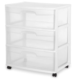 "DRAWER/CART-3 22"" WIDE-WHEEL-CL/WH"