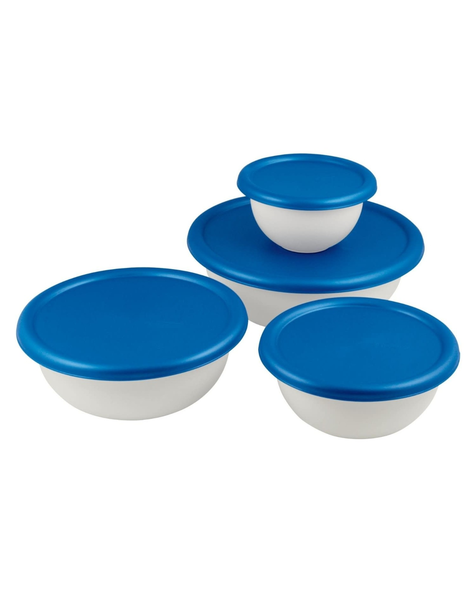 BOWL SET OF 4 w/COVERS-WHT/BLUE TOP