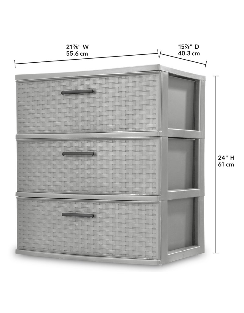 Drawer/Cart-3 Weave 22 Wide-Cement