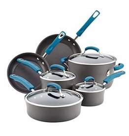Rachael Ray Hard Anodized Blue Handles 10-Piece Set