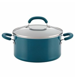 Rachael Ray 6 QT Aluminum Covered Stockpot, Teal Shimmer