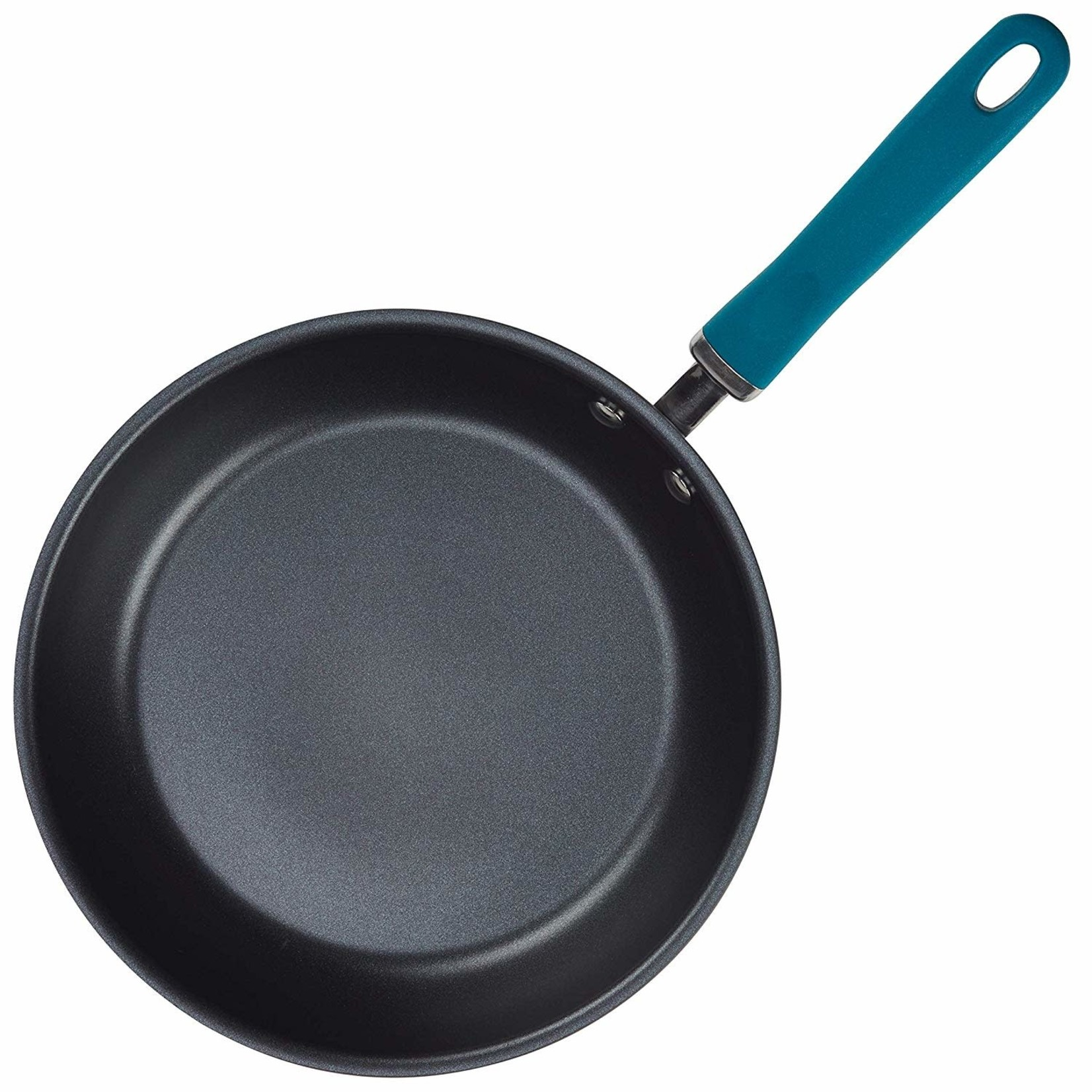 """11.75"""" Rachael Ray Hard Anodized Aluminum Skillet, Gray with Teal Handles"""
