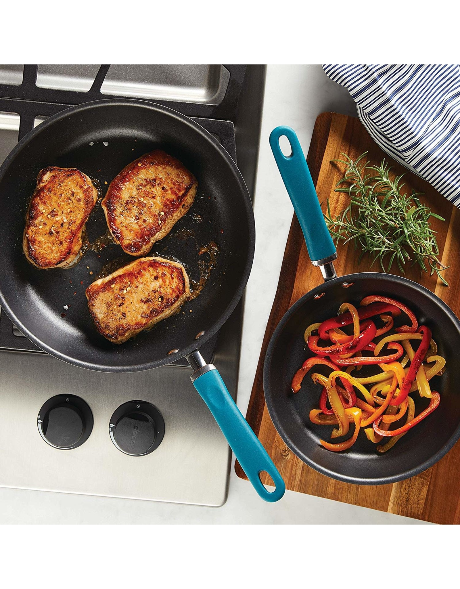"""9.5"""" Rachael Ray Hard Anodized Aluminum Skillet, Gray with Teal Handles"""