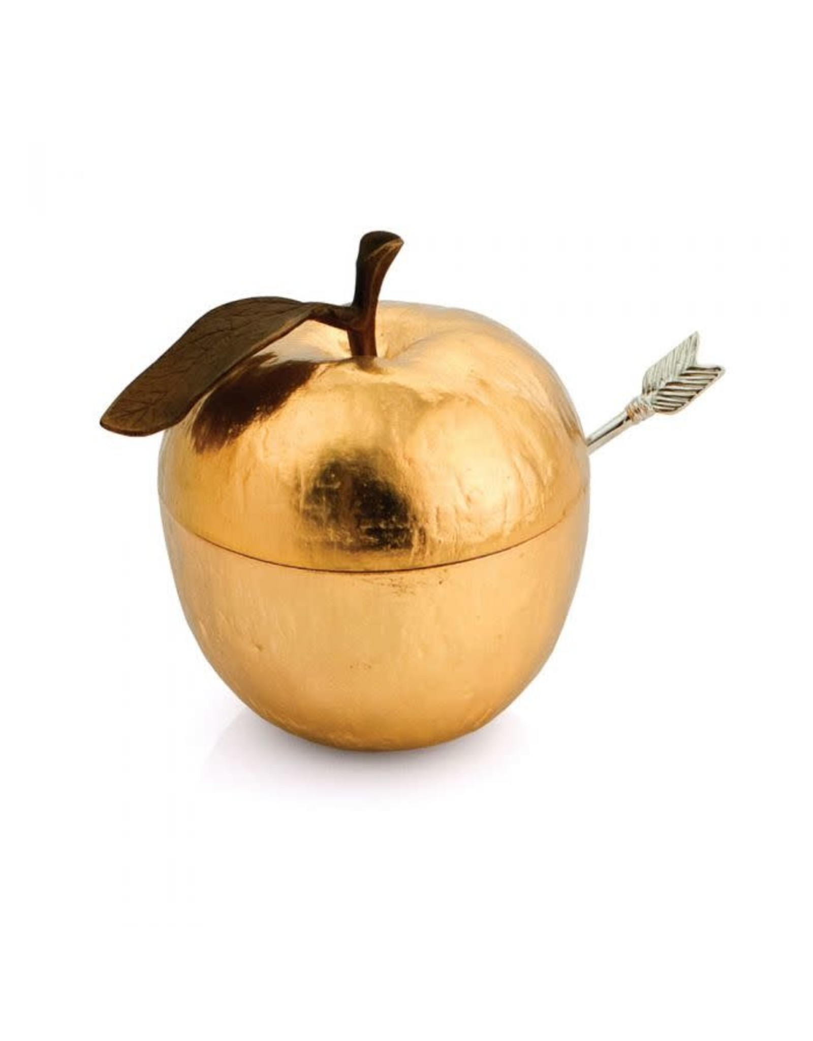 Apple Honey Pot with Spoon Goldtone