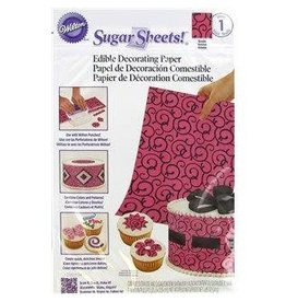 Wilton Wilton Pink/Black Scrolls Sugar Sheet