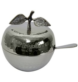 Silver Apple Honey Dish with Spoon