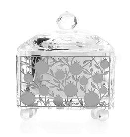 Square Glass Pomegranate Design Honey Dish