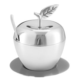 Honey Dish Apple Shape Stainless Steel  With Tray & Spoon