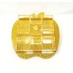 Rosh Hashana Simonim 9 Sectional Apple Tray - Gold Medium 8 Inch