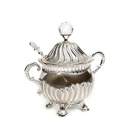 Honey Dish Silver Plated Matt Stripes 6""