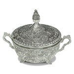 Dish Silver Plated Filigree With Spoon