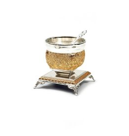 X874Z Gold/Silver Salt Pan w Spoon