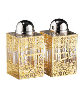 161563 Gold Floral Salt & Pepper Shakers