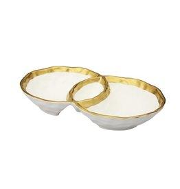 "WPD538 White Porcelain Round Double Bowl with Gold Rim - 10.75""L x 6.5""W x 2""H"