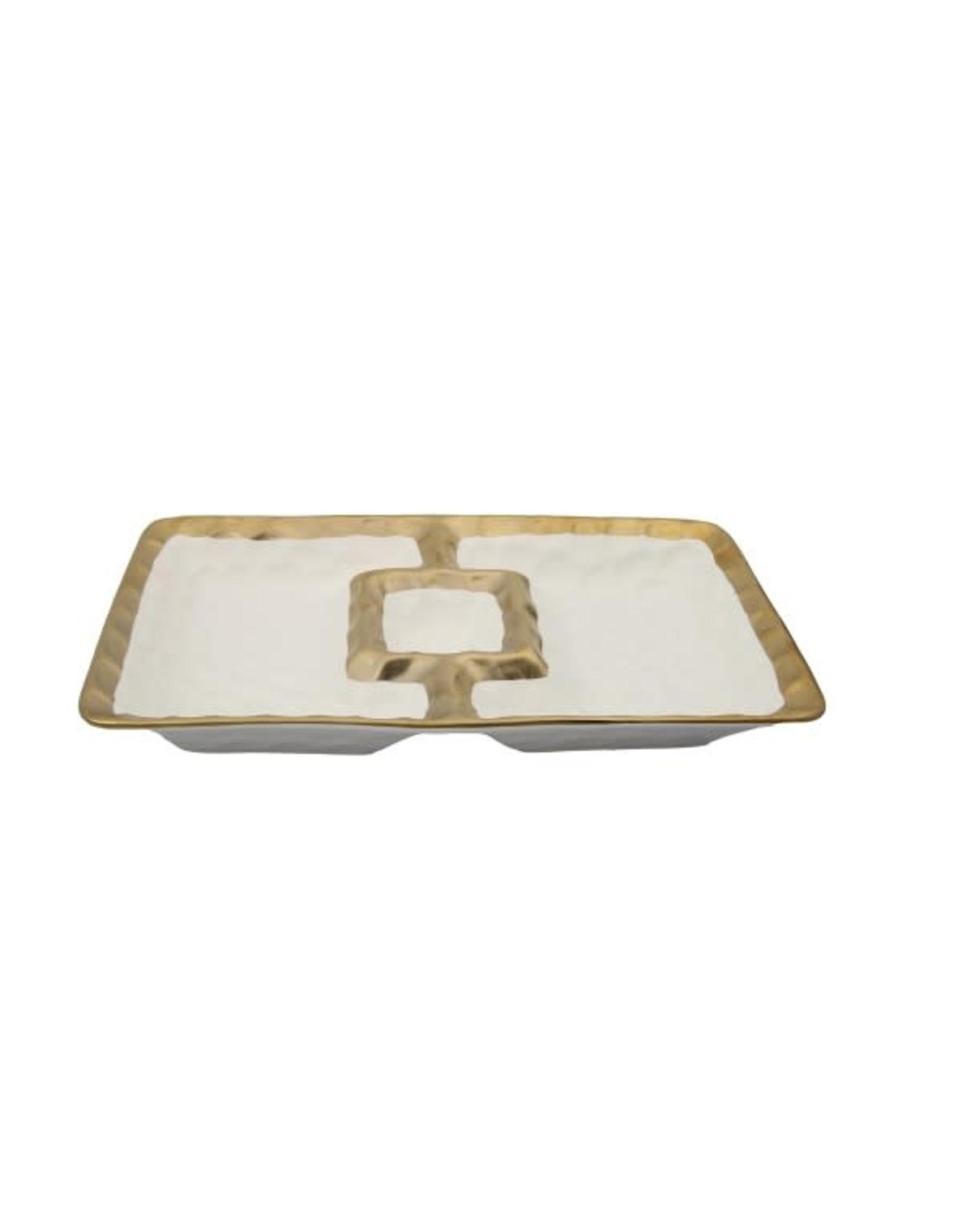"WPD571 White Porcelain Chip & Dip Bowl with Gold Border - 12""L x 7""W"