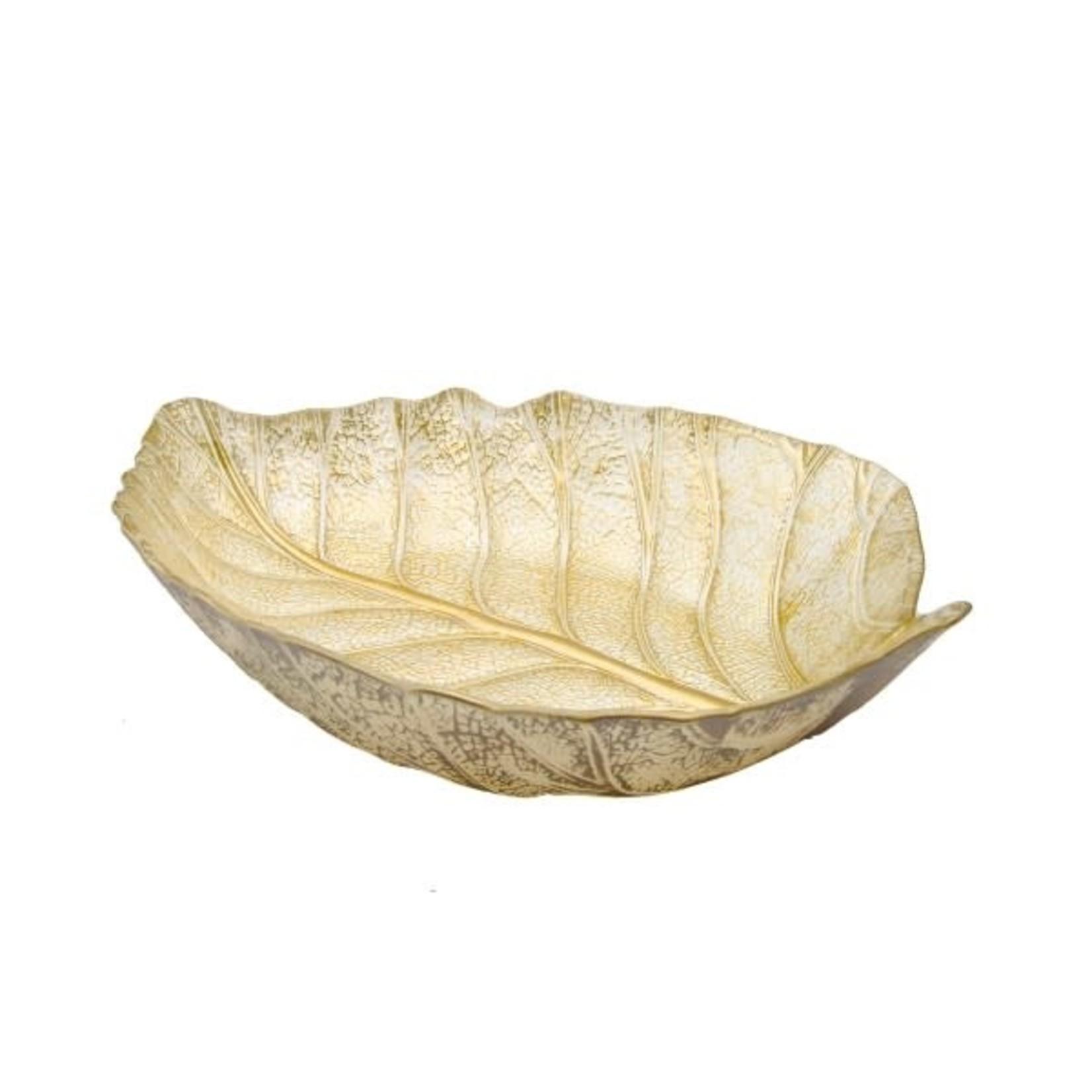 """LD1069 15"""" Gold Leaf Shaped Dish"""