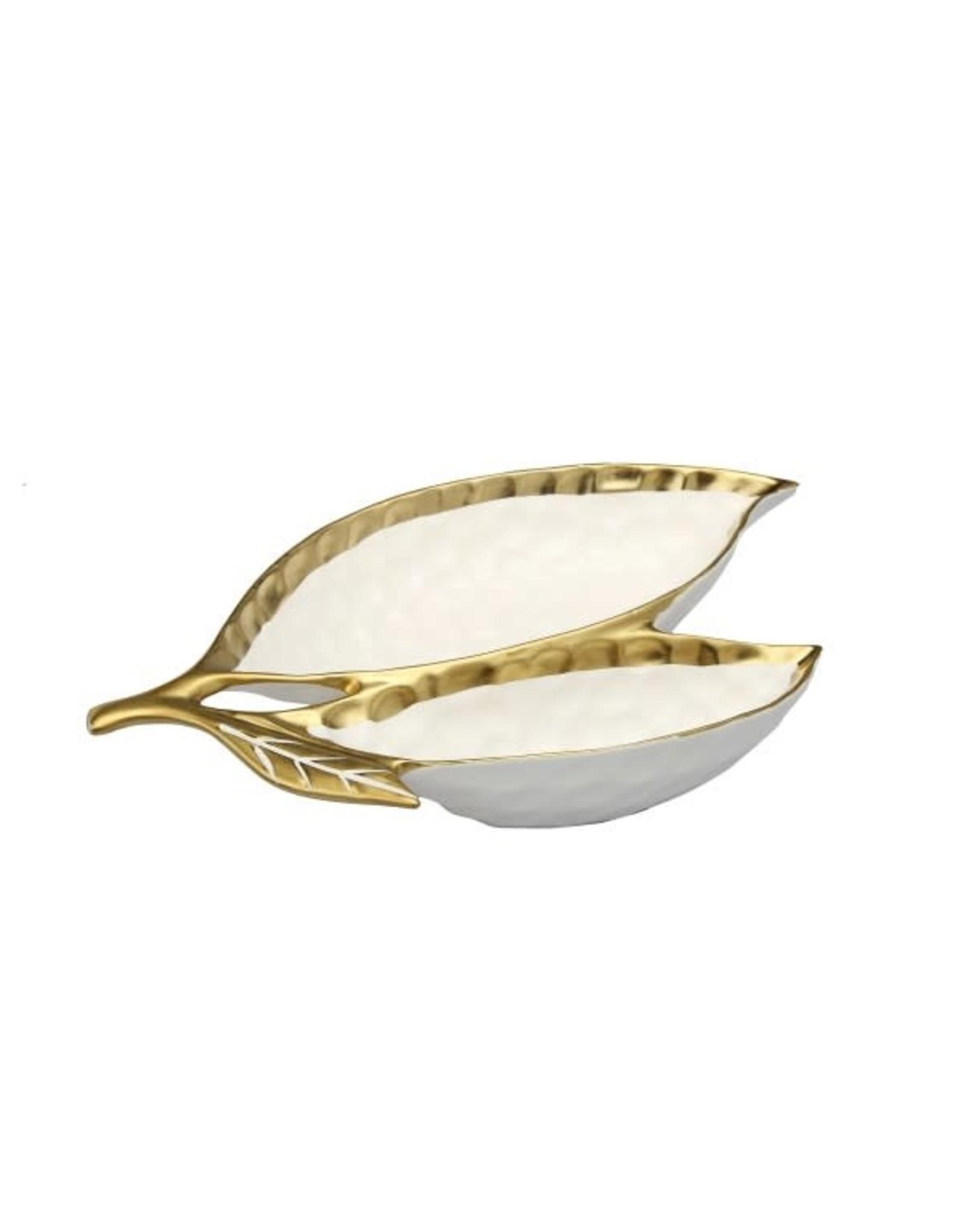 "WPL560 White Porcelain Leaf Relish Dish with Gold Rim - 15""L x 8.75""W x 2.25""H"
