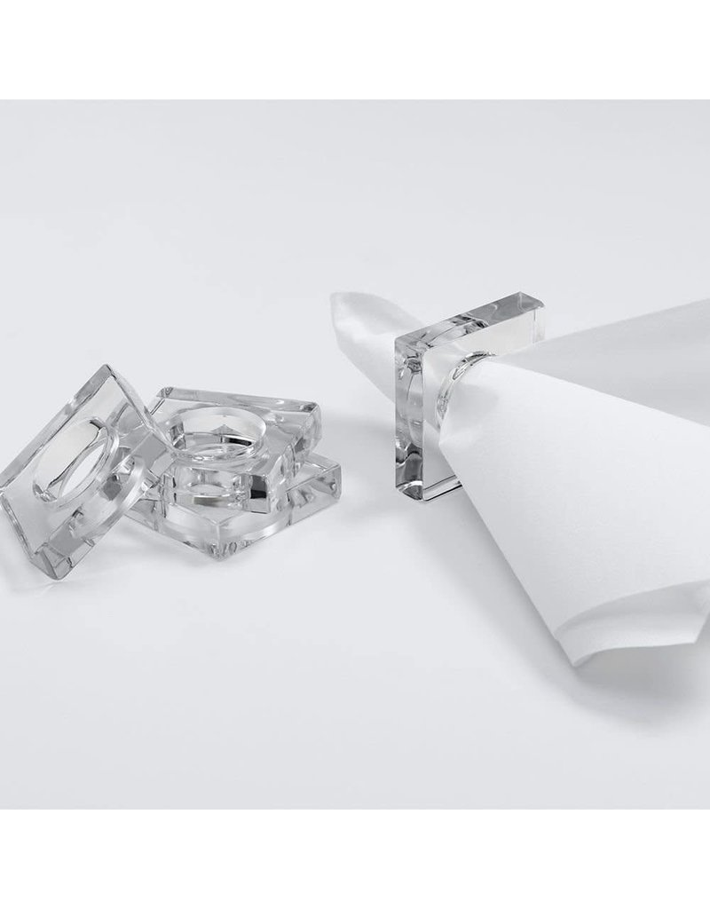 Set of 4 Acrylic Napkin Rings - Crystal