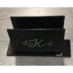 Monogramed Lucite Napkin Holder Black