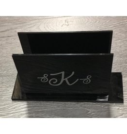 Monogramed Lucite Napkin Holder Black