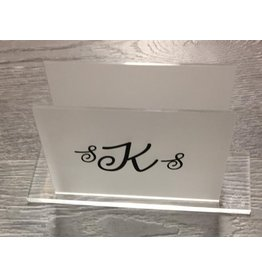 Monogramed Lucite Napkin Holder Frosted