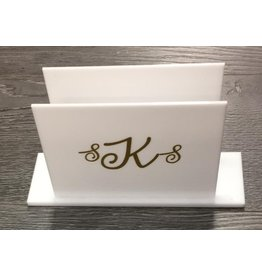 Monogramed Lucite Napkin Holder White