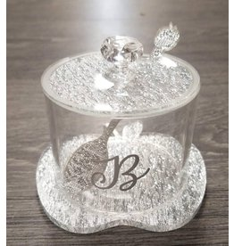 Monogramed Lucite Apple Honey Jar Silver