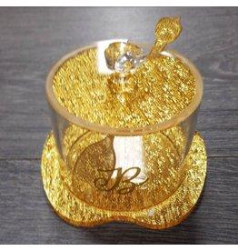 Monogramed Lucite Apple Honey Jar Gold