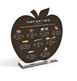 Multi Colored Rosh Hashana Simonim Card - Black