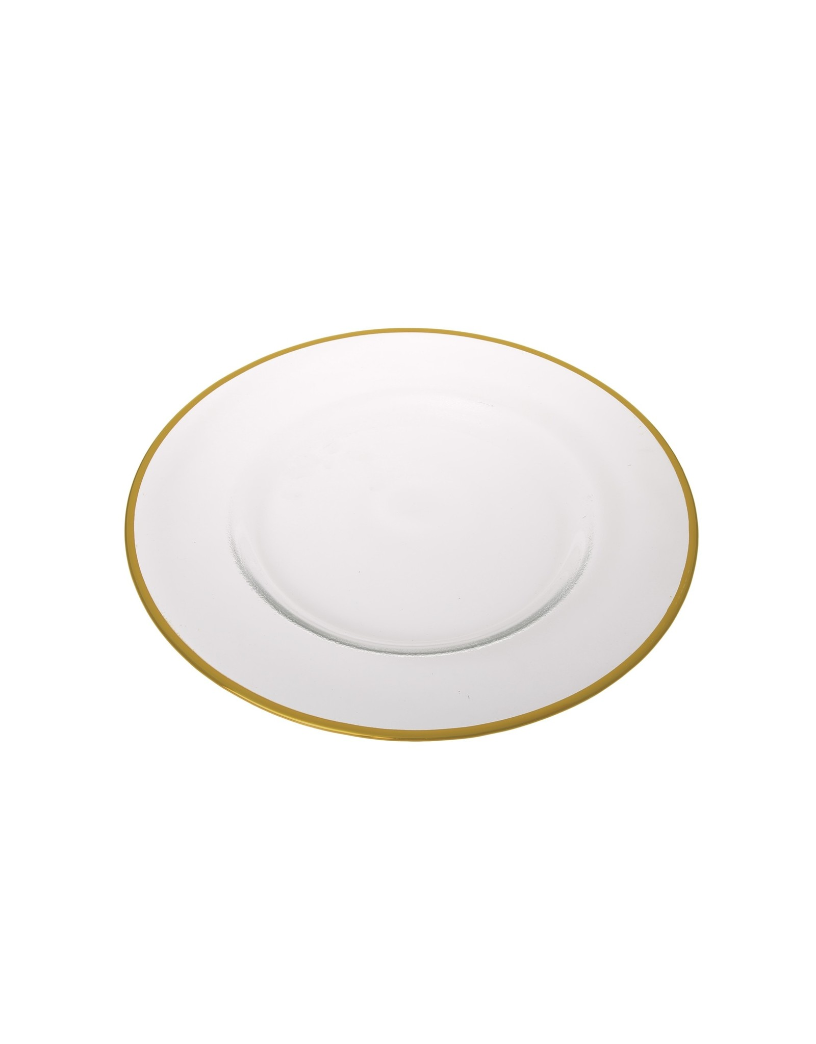 """Clear Chargers with Gold Trim - 13"""" D"""