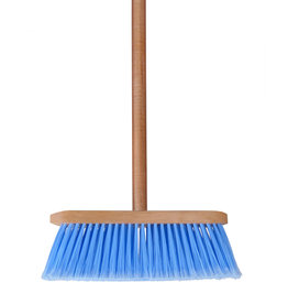 Wooden broom with Blue Bristles