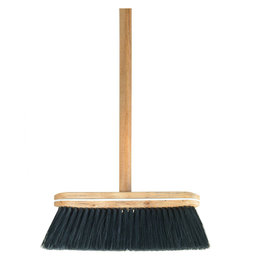 Wooden Handle w Black Bristled Broom