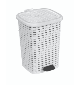 6 Liter Wicker Look Trash Can White
