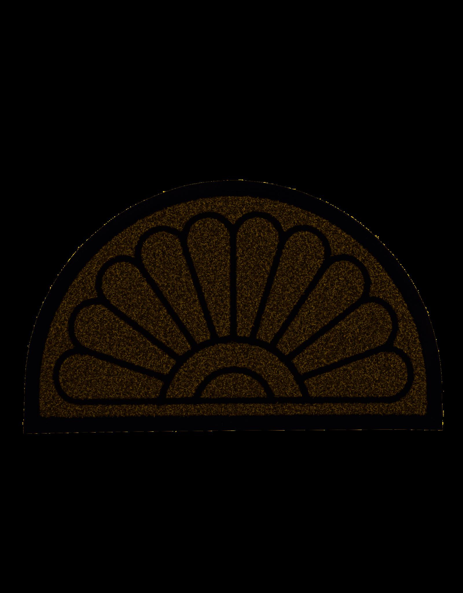 """Natural Sunburst Half Round Coir Doormat 18"""" x 30"""""""