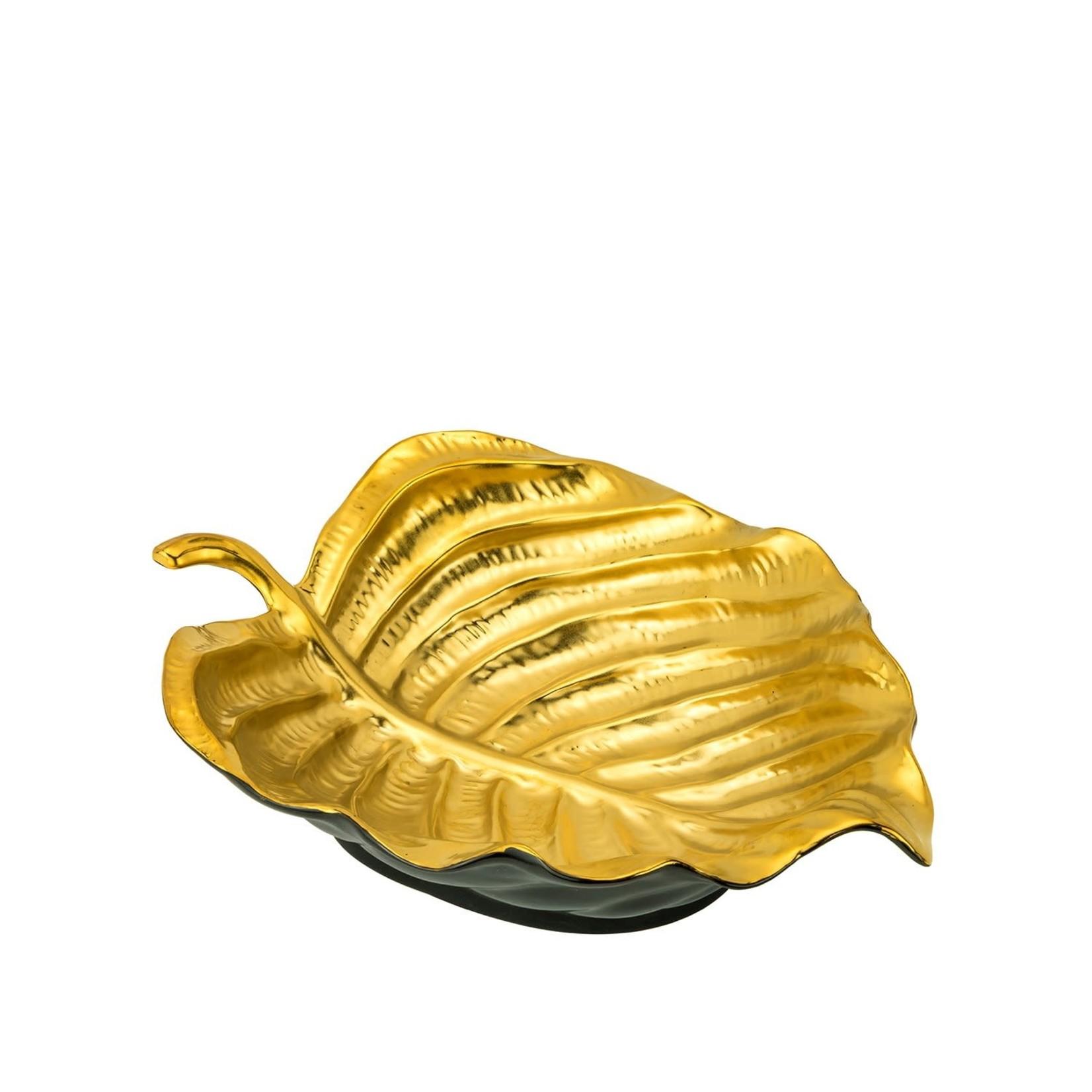 056 Large Black/Gold Leaf Tray