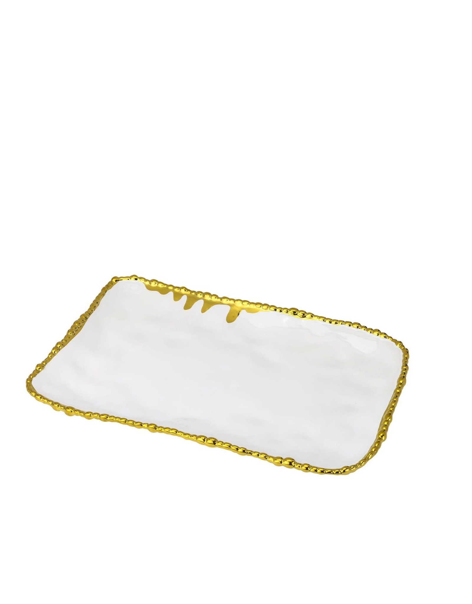 280G White/Gold Serving Tray