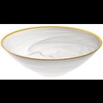 """P236G - White/ Gold Alabaster Bowl 10"""""""
