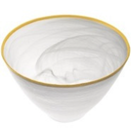 "P237G - 6"" White Alabaster Gold Rim Bowl"