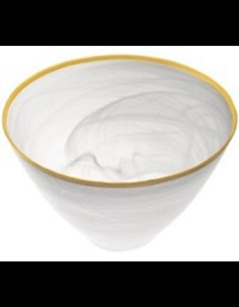 """P237G - 6"""" White Alabaster Gold Rim Bowl"""