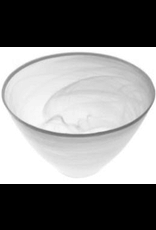 "P237S - 6"" White Alabaster Silver Bowl"