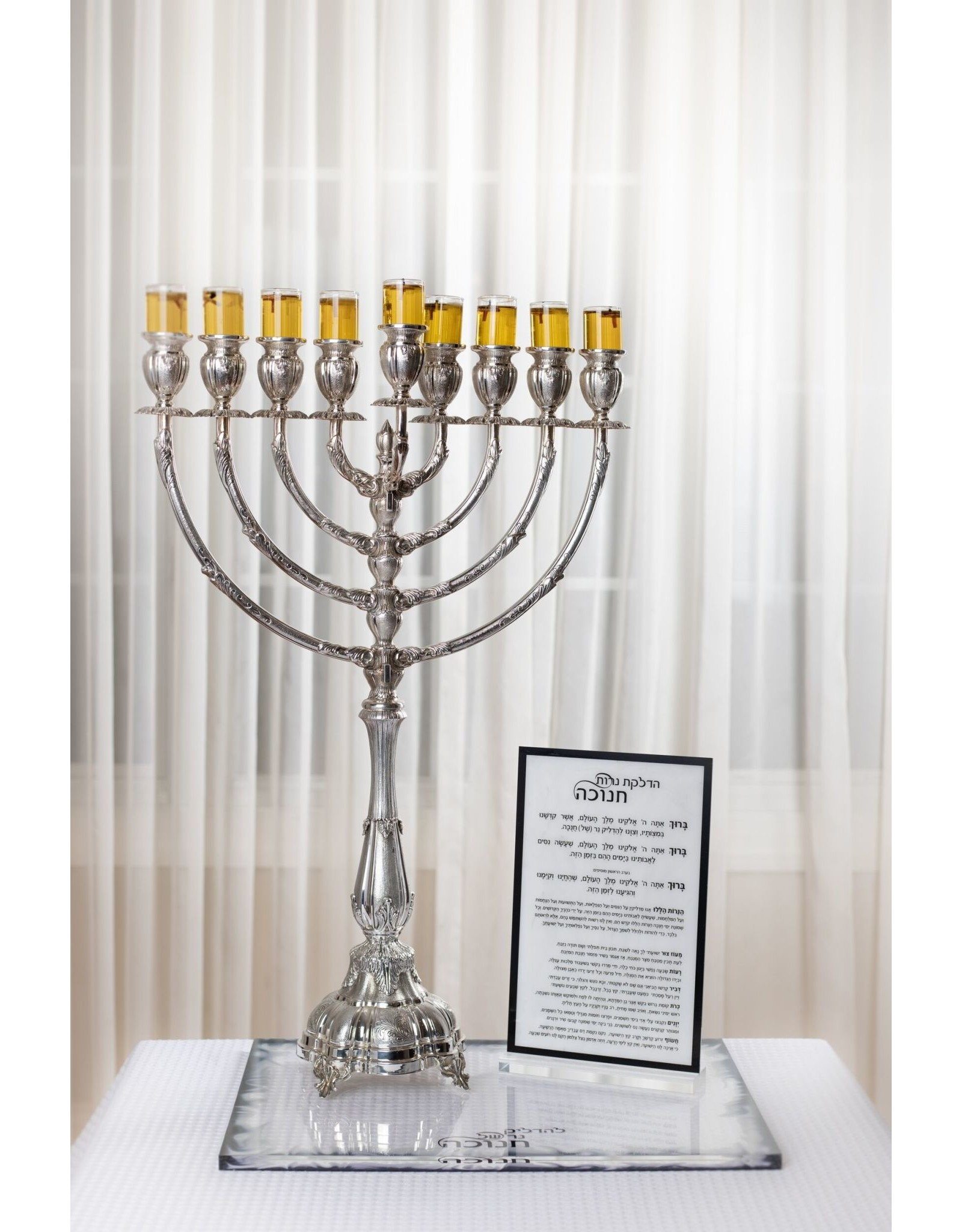 Presented Touch Chanukah Blessings Plaque Traditional Design White Marble Black
