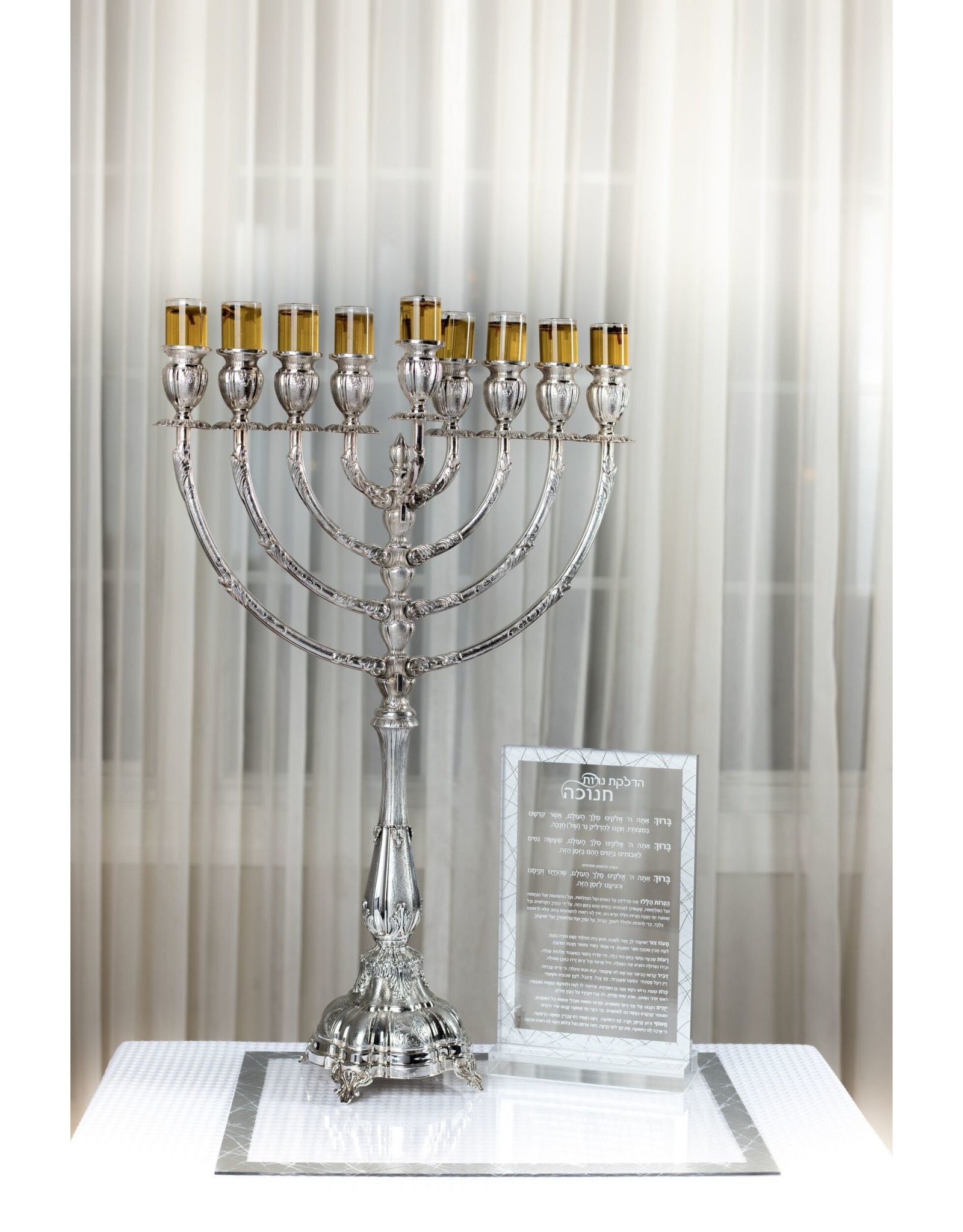 Presented Touch Chanukah Tray Cracked Glass Design Design Clear Silver
