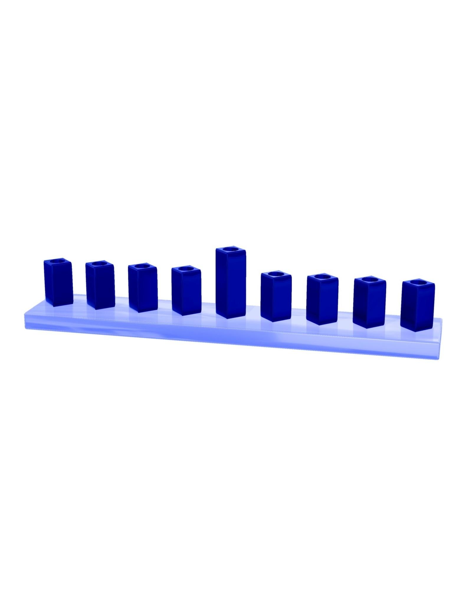 "9/14x2x2"" Light Blue & Navy Menorah"