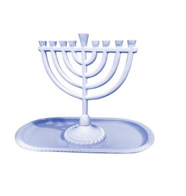 "6x6.5"" Light Blue Menorah with Tray"