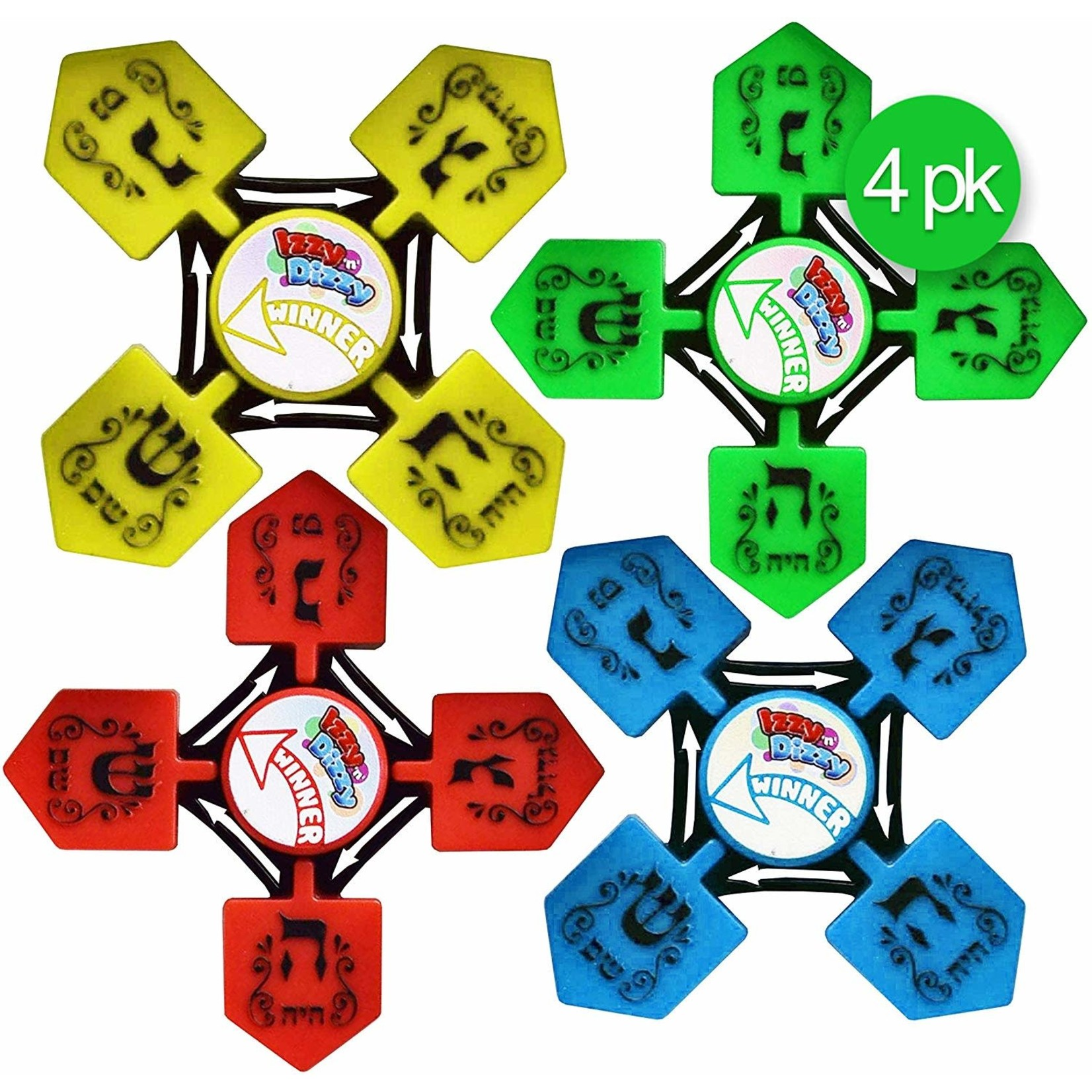 24 X Dreidel Spinners - solid colors