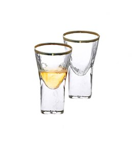 Classic touch GLG1054 Pebble Glass Liquor Glasses with Gold Rim